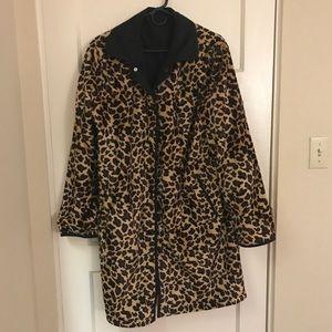 Reversible animal print black jacket